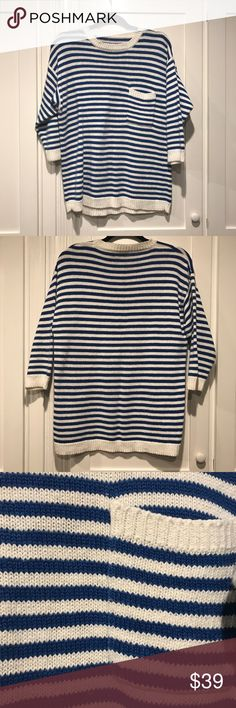 """Royal Blue and White Striped Vintage Sweater Super cute! Toss on over white shorts on vacation for a riviera vibe. Vintage with no tags or labels- feels like a cotton weave. 3/r sleeve, falls 27"""" from shoulder to waist band. Seems like a casual fitting medium to me. Vintage Sweaters Crew & Scoop Necks"""