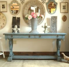 Would like to paint our buffet a sage green...really want a fun entryway table like this too!