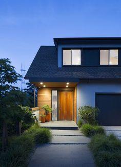 front entry cedar siding slate tile wood door dormer window remodel Extension Designs, Dormer Windows, Cedar Siding, Exterior Doors, Wood Doors, Tile Wood, Home Remodeling, Facade, Front Entry