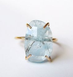 Natural Aquamarine Gold Ring OOAK by friedasophie on Etsy
