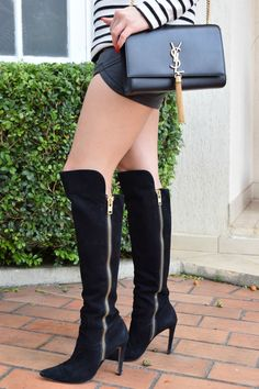 Look Boots Over the Knee -Bota Luiza Barcelos | Blusa Zara | Short ForeverXXI | Bolsa Saint Lauren http://allbyday.com/look-bota-over-the-knee/