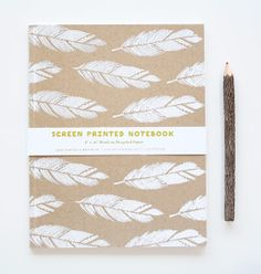 Screen printed feather notebook. #notebook #feathers #satchelandsage