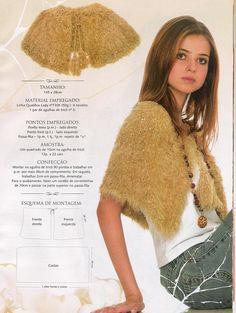 Receita de Tricô: Pelerine de Qualifios Lady em tricô Crochet Cape, Crochet Shawl, Cape Jacket, Stitch Patterns, Sequin Skirt, Fur Coat, Knitting, Women, Fashion