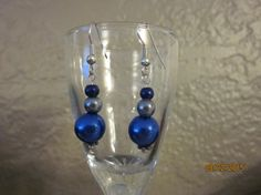 A7 Silver Blue Grey Three Bead Earrings with by ParadiseKreations