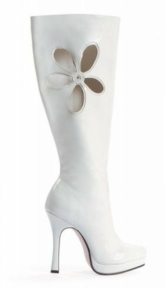 go go boots from the 60's | boots white with flower leg avenue fancy dress costumes platform shoes ...