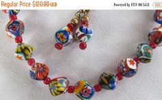 ON SALE Rare Millefiori Venentian Glass Beads Necklace and Earring Set Trending Jewelry Great Gift Idea Womans Jewelry Set