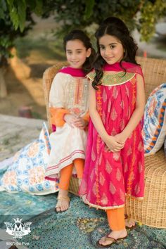 Maria B introduces their brand new ready-to-wear Eid collection for women and children! This design house has been getting it considerably right with its graceful ultra feminine designs all season. Frocks For Girls, Kids Frocks, Dresses Kids Girl, Cute Dresses, Kids Outfits, Baby Dresses, Girls Dresses Sewing, Ladies Dresses, Kids Salwar Kameez