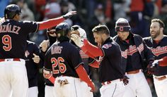 Cleveland Indians Yan Gomes delivered a two-run walk-off home run in the bottom of the ninth inning Sunday as the Indians defeated Kansas City, 3-1. April 8, 2018. Left to right Erik Gonzalez, Rajai Davis, Yan Gomes, Brandon Guyer and Jason Kipnis.