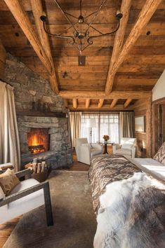 There are numerous ways to make your home interior design look more interesting, one of them is using cabin style design. With this inspiring gallery you can make fantastic cabin style in your home. ** Read more details by clicking on the image. Bedroom Fireplace, Cozy Fireplace, Fireplace Design, Fireplace Ideas, Cabin Interior Design, Rustic Bedroom Design, House Design, Bedroom Designs, Rustic Design