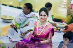 South Indian bride. Diamond Indian bridal jewelry.Temple jewelry. Jhumkis. Purple silk kanchipuram sari.Braid with fresh jasmine flowers. Tamil bride. Telugu bride. Kannada bride. Hindu bride. Malayalee bride.Kerala bride.South Indian wedding.