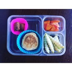 chool lunch: MySuperSnack Chocolate Chip Granola Bites, leftover pancake sandwich with apple butter, roasted carrots and crinkle cut pears. All organic or non GMO.