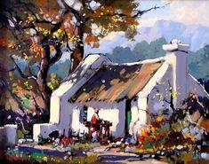 Robertson Art Gallery - Dale Elliott Forest Village, Fishermans Cottage, Farm Shed, South African Artists, Landscape Artwork, Welsh, Cottages, Art Ideas, Original Art