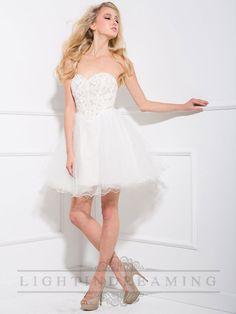 White Sweetheart Beaded Tulle Short Prom Dress