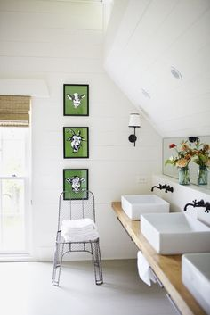 Inspiration from Bathrooms.com: Why stop at one basin or even two? If yours is a large family, three's never a crowd, especially if you keep the rest of the room pared back. #basin #bathroom