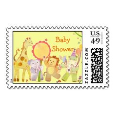 Baby Animals: Baby Shower Postage! Make your own stamps more personal to celebrate the arrival of a new baby. Just add your photos and words to this great design.