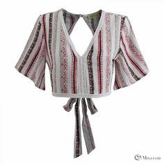 8d36d04c4e7 Ladies Multi-colored tribal print half sleeve faggotting trim top for  wholesale - clothing