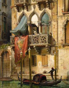 """Friedrich Nerly (1807 Erfurt, Germany - 1878 Venedig, Italy), """"Palazzo Contarini in Venedig"""" (Haus der Desdemona)"""