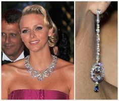 Despite the fact that it was made for her, it has scarcely been seen in use since it was made. It has, however, been on display on several occasions and in different locations. Princess Charlene first wore it as a necklace to the Red Cross Ball in 2011, just after her wedding. She has also been seen in a pair of drop earrings which are clearly part of a set with the necklace/tiara, containing a matching ocean circle at the bottom.