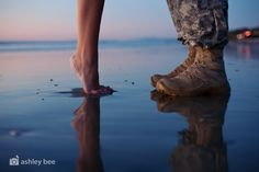 Tip: Beaches at dusk cast a beautiful reflection on the sand :) #engagement #couples #military