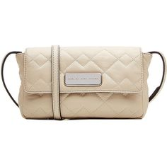 Marc by Marc Jacobs Monica Cross-Body Bag ($170) ❤ liked on Polyvore featuring bags, handbags, shoulder bags, beige, pink leather purse, leather cross body purse, pink handbags, pink purse and leather crossbody purse