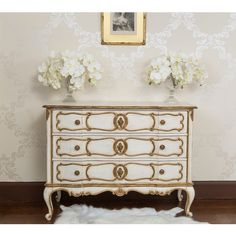 Palais Ivory & Gold French Chest of Drawers