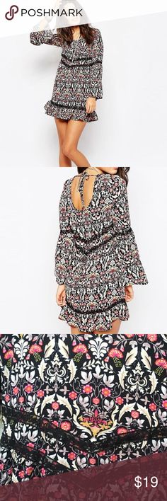 Band of Gypsies Bell Sleeve Dress ✨ NWOT Excellent condition and a beautiful dress! Band of Gypsies Dresses Mini