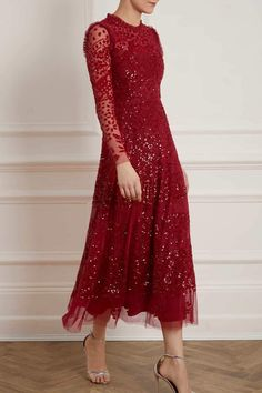 The Aurora Ballerina Dress in Cherry Red, worn by the Duchess of Cambridge (Kate Middleton) in January 2020 for a reception held at Buckingham Palace. This light catching ankle-length dress is decorated with red shimmering sequins inspired by vintage lace tablecloth. The Aurora Ballerina is a long sleeve dress with pretty floral elements, engineered to flatter the A-line silhouette. Sequin Midi Dress, Sequin Gown, Embellished Dress, Embroidered Lace, Beaded Gown, Boho Chic, Flora Dress, Ballerina Dress, Cherry Dress
