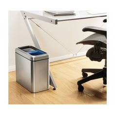 Sleek, narrow footprint open recycling bin, perfect for your workspace: sort your daily recycling at the throwaway stage