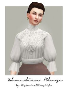 TS4: EDWARDIAN BLOUSE (Sims 3 Conversion)I converted this s3 shirt some time ago when I began practicing converting. Here it is now finished. I believe it was called 'embroidery oyster' originally but I changed it to an 'edwardian blouse' for sims 4...