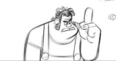 Ralph Rough Pencil Test to Wreck-It Ralph (2012) by Jin Kim by Living Lines Library. © Walt Disney Animation Studios