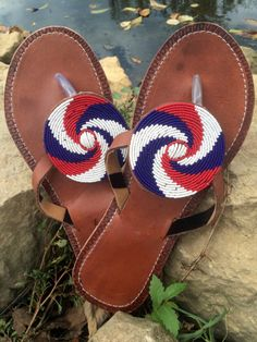 a29f812532f2 Her Best Foot Forward handmade African Maasai sandals begin with  traditional beading and are accented and