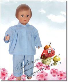 Vêtement poupée MODES ET TRAVAUX mars 1953 pyjama pour Françoise et autres 40 cm
