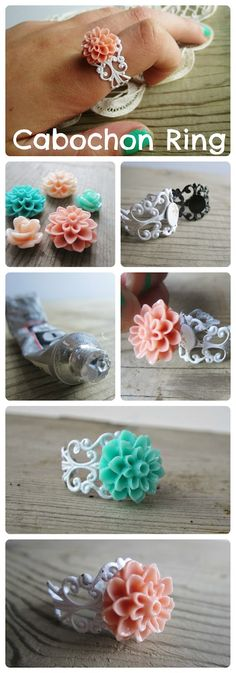 This is a tutorial showing you how to glue a plastic flower to a ring base.  Really?