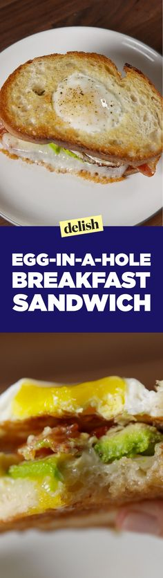 This egg-in-a-hole breakfast sandwich will totally upgrade your morning routine. Get the recipe on Delish.com.