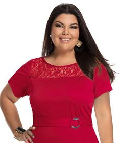 Fabiana Karla by Hiroshima - Vestido em helanca e renda Hiroshima, Moda Plus Size, Plus Size Fashion, V Neck, Tops, Women, Stylish Dresses, Black Dress Outfits, Seersucker Dress