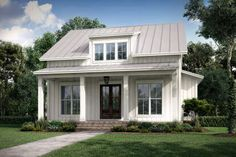 This farmhouse design floor plan is 1257 sq ft and has 2 bedrooms and has 2 bathrooms. This farmhouse design floor plan is 1257 sq ft and has 2 bedrooms and has 2 bathrooms. Porch House Plans, Best House Plans, Small House Plans, Small Cottage House Plans, Small Cottage Homes, Tiny Cabin Plans, Cottage House Designs, Small Cottage Designs, Small Floor Plans