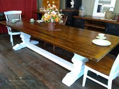 Pear pedestal trestle table, reclaimed chestnut top, painted pine base, can be custom made in any size or color - www.braunfarmtables.com