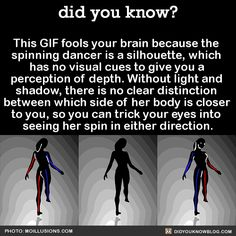 This GIF fools your brain because the  spinning dancer is a silhouette, which  has no visual cues to give you a  perception of depth. Without light and  shadow, there is no clear distinction  between which side of her body is closer  to you, so you can trick your eyes into  seeing her spin in either direction.  Source