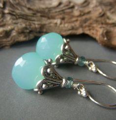 Aqua Chalcedony Earrings on Sterling Silver . Teardrop Gemstone Briolette Blue Opalescent Dangle . Clear Skies