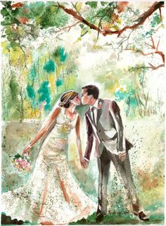 Original Watercolor CUSTOM Wedding Portraits by SimplyArtByKristin, $95.00