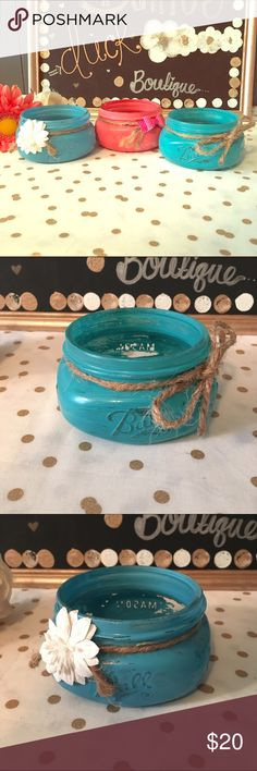Vintage Mason Jar Decor & holders Handcrafted Mason jars with gorgeous decor and waterproof paint and sealant.  Use this for a jewelry dish, business card holder, hair ties, Bobby pins, anything you can think of! One of a kind! Made by The Dainty Duck Boutique Accessories