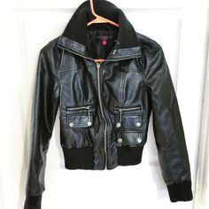 Black Jacket sleeves are 24 in long Medium black jacket with two pockets New Look Jackets & Coats