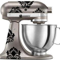 Damask Decal for Kitchenaid Mixer, although the color of the mixer is beautiful