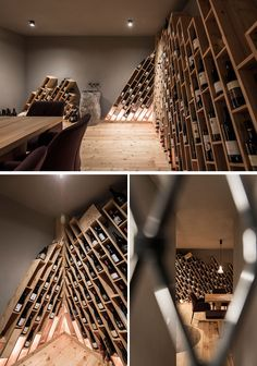The design of this hotel's wine cellar is inspired by the mountains, and has wood shelving installed on an angle, with compartments for individual bottles of wine. Wine Bar Restaurant, Restaurant Design, Wine In The Woods, Interior Design And Build, Central Building, Wine Cellar Design, Wine House, Small Loft, Refuge