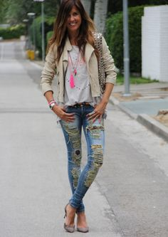 ethnic jeans and leather jacket | mytenida en stylelovely.com