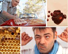 Apensar limpiando carro abejas. Líquido marrón. Panal de abejas. Hombre limpiándose las orejas.Aquí tienes la solución. ¡Que disfrutes!