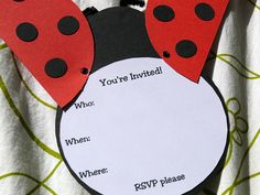 A little lady bird invitation for the little ladies