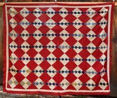"patchwork quilt top 68"" x76"" early red blue 1800 cotton hand made; ebay pentiques, mid to late 1800s, red squares and borders are machine stitched, patches are hand stitched, no holes, not torn, some light fading"