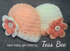 Baby Girl Twin Hats Flower Hats Baby Girl Beanies 2 Baby | Etsy Crochet Baby Hats, Cute Crochet, Hand Crochet, Flower Hats, Baby Flower, Baby Girl Beanies, Twin Baby Girls, Cute Twins, How To Have Twins
