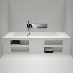 modern architecture - interior view - bathroom - agape design - bathtub - cartesio - built-in bathtub with storage compartments